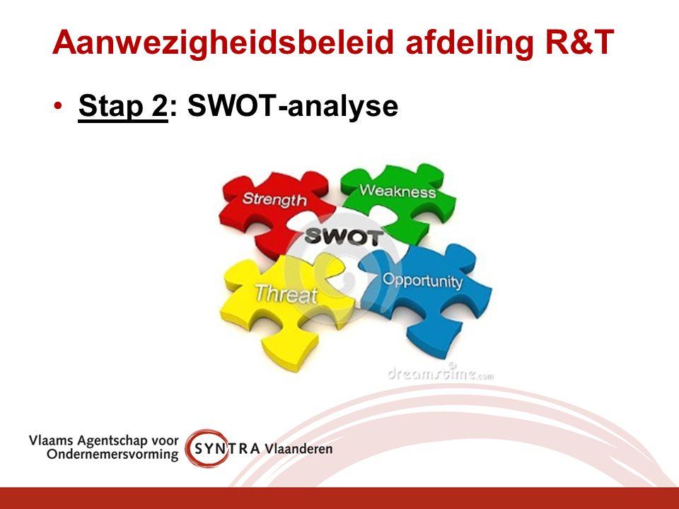 Aanwezigheidsbeleid afdeling R&T Stap 2: SWOT-analyse