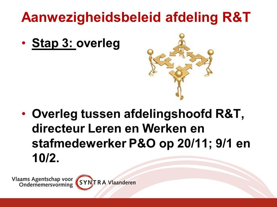 Aanwezigheidsbeleid afdeling R&T Stap 3: overleg Overleg tussen afdelingshoofd R&T, directeur Leren en Werken en stafmedewerker P&O op 20/11; 9/1 en 10/2.