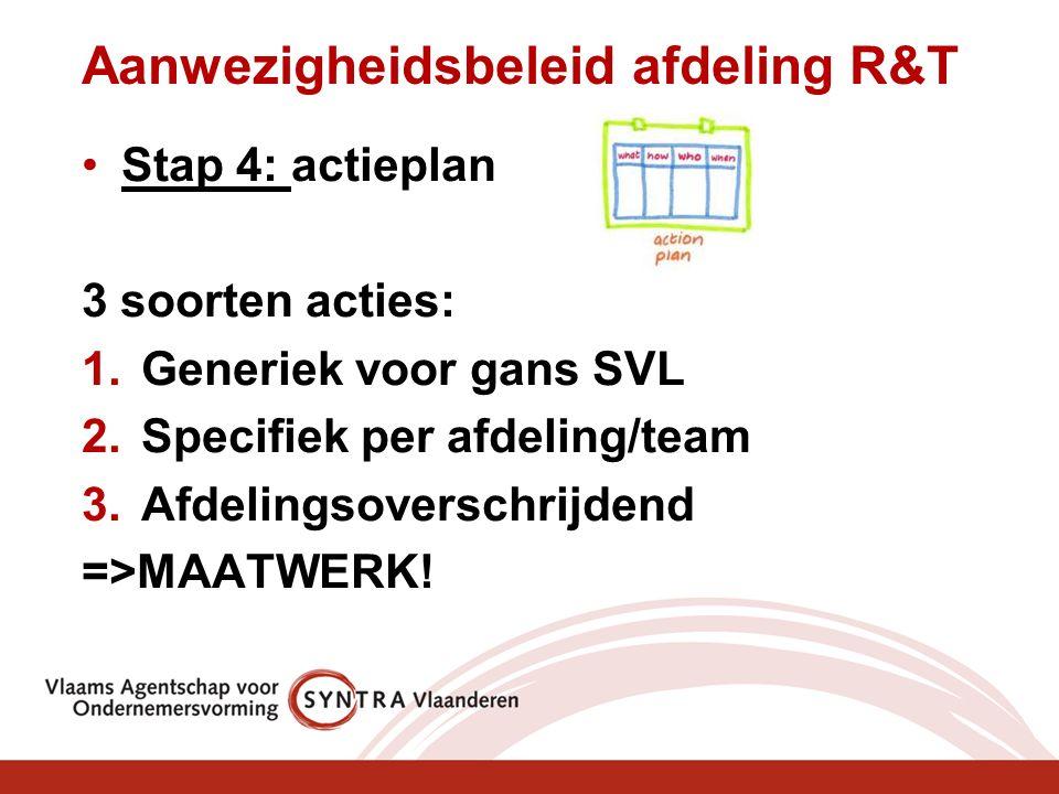 Aanwezigheidsbeleid afdeling R&T Stap 4: actieplan 3 soorten acties: 1.Generiek voor gans SVL 2.Specifiek per afdeling/team 3.Afdelingsoverschrijdend =>MAATWERK!