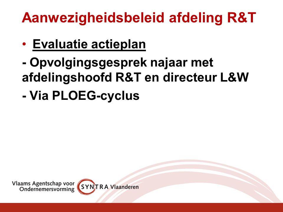 Aanwezigheidsbeleid afdeling R&T Evaluatie actieplan - Opvolgingsgesprek najaar met afdelingshoofd R&T en directeur L&W - Via PLOEG-cyclus