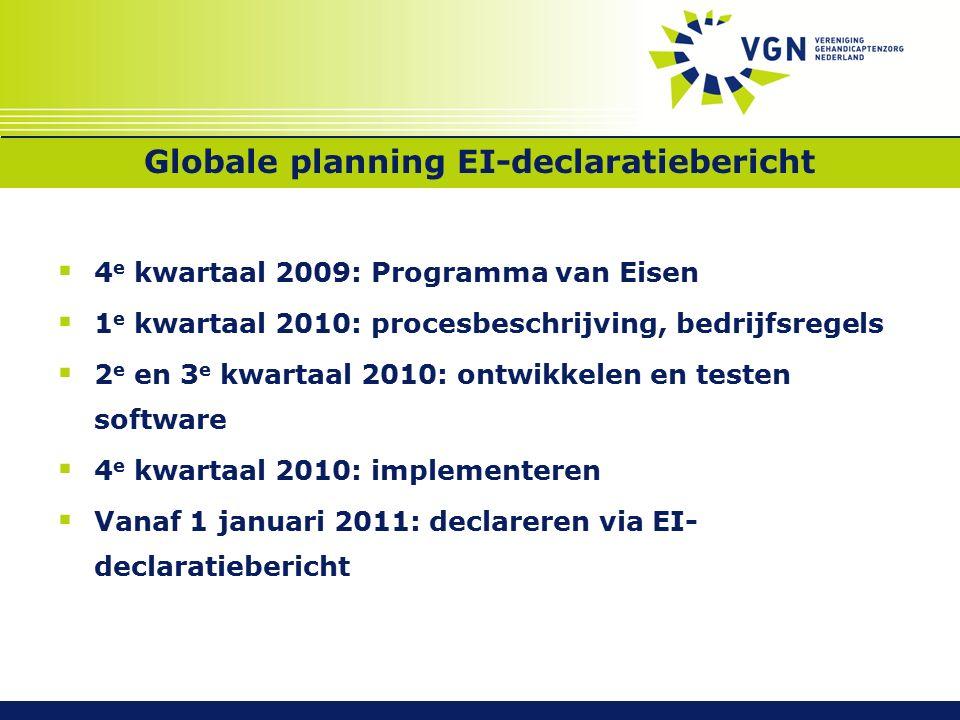 Globale planning EI-declaratiebericht  4 e kwartaal 2009: Programma van Eisen  1 e kwartaal 2010: procesbeschrijving, bedrijfsregels  2 e en 3 e kwartaal 2010: ontwikkelen en testen software  4 e kwartaal 2010: implementeren  Vanaf 1 januari 2011: declareren via EI- declaratiebericht