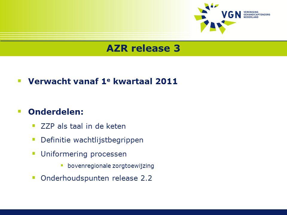 AZR release 3  Verwacht vanaf 1 e kwartaal 2011  Onderdelen:  ZZP als taal in de keten  Definitie wachtlijstbegrippen  Uniformering processen  bovenregionale zorgtoewijzing  Onderhoudspunten release 2.2