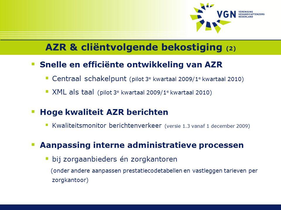 Toekomst  Uitvoering AWBZ door eigen zorgverzekeraar  Beheer AZR: Rol VWS.