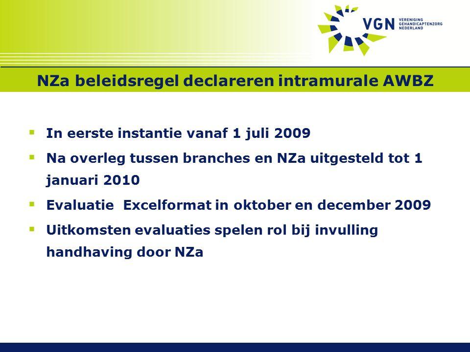NZa beleidsregel declareren intramurale AWBZ  In eerste instantie vanaf 1 juli 2009  Na overleg tussen branches en NZa uitgesteld tot 1 januari 2010  Evaluatie Excelformat in oktober en december 2009  Uitkomsten evaluaties spelen rol bij invulling handhaving door NZa