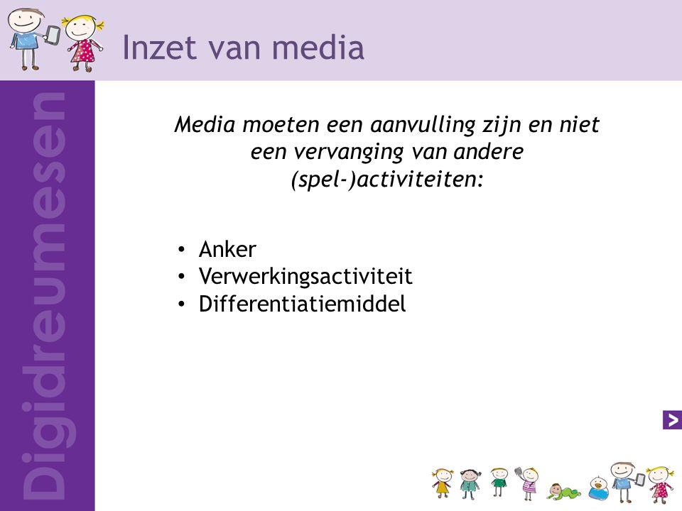 Inzet van media Media moeten een aanvulling zijn en niet een vervanging van andere (spel-)activiteiten: Anker Verwerkingsactiviteit Differentiatiemiddel