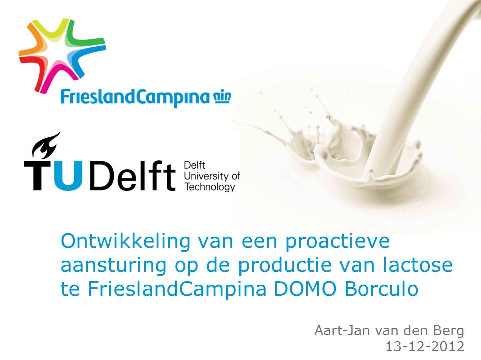 Ontwikkeling van een proactieve aansturing op de productie van lactose te FrieslandCampina DOMO Borculo Aart-Jan van den Berg 13-12-2012