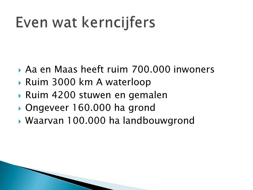  Aa en Maas heeft ruim 700.000 inwoners  Ruim 3000 km A waterloop  Ruim 4200 stuwen en gemalen  Ongeveer 160.000 ha grond  Waarvan 100.000 ha landbouwgrond