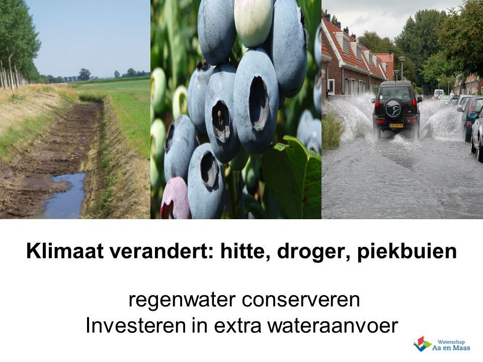 6 Presentatie 20 - 06 - 2007 Klimaat verandert: hitte, droger, piekbuien regenwater conserveren Investeren in extra wateraanvoer