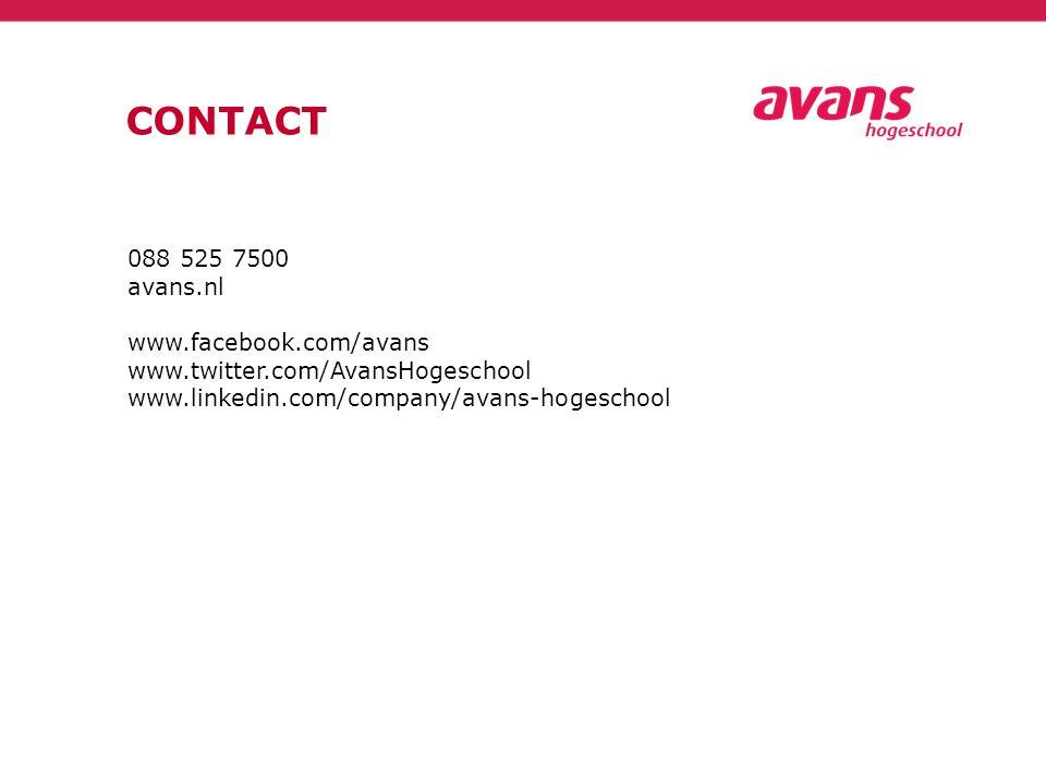 CONTACT 088 525 7500 avans.nl www.facebook.com/avans www.twitter.com/AvansHogeschool www.linkedin.com/company/avans-hogeschool