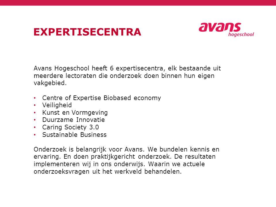 EXPERTISECENTRA Avans Hogeschool heeft 6 expertisecentra, elk bestaande uit meerdere lectoraten die onderzoek doen binnen hun eigen vakgebied. Centre