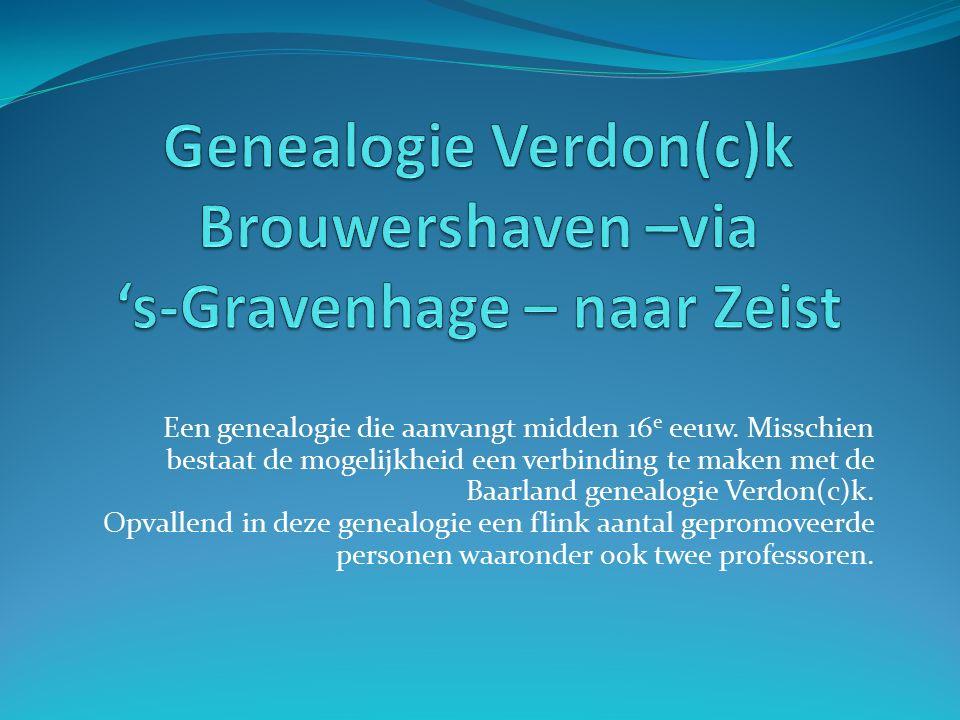 Een genealogie die aanvangt midden 16 e eeuw.