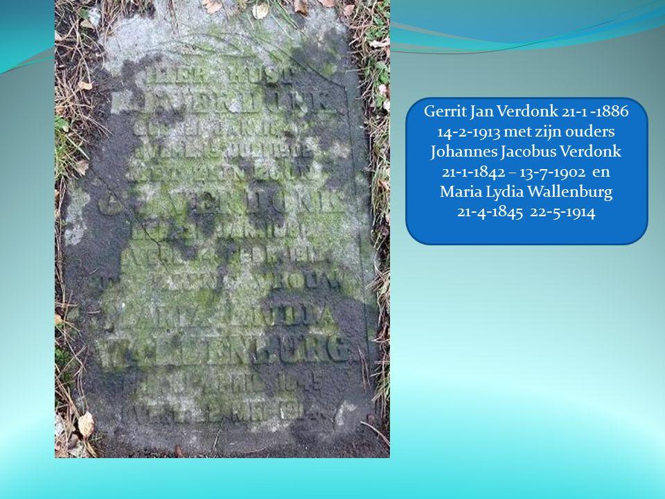 Gerrit Jan Verdonk 21-1 -1886 14-2-1913 met zijn ouders Johannes Jacobus Verdonk 21-1-1842 – 13-7-1902 en Maria Lydia Wallenburg 21-4-1845 22-5-1914