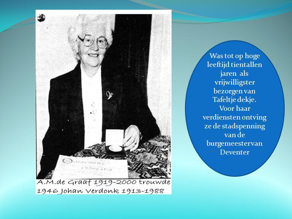 Was tot op hoge leeftijd tientallen jaren als vrijwilligster bezorgen van Tafeltje dekje.