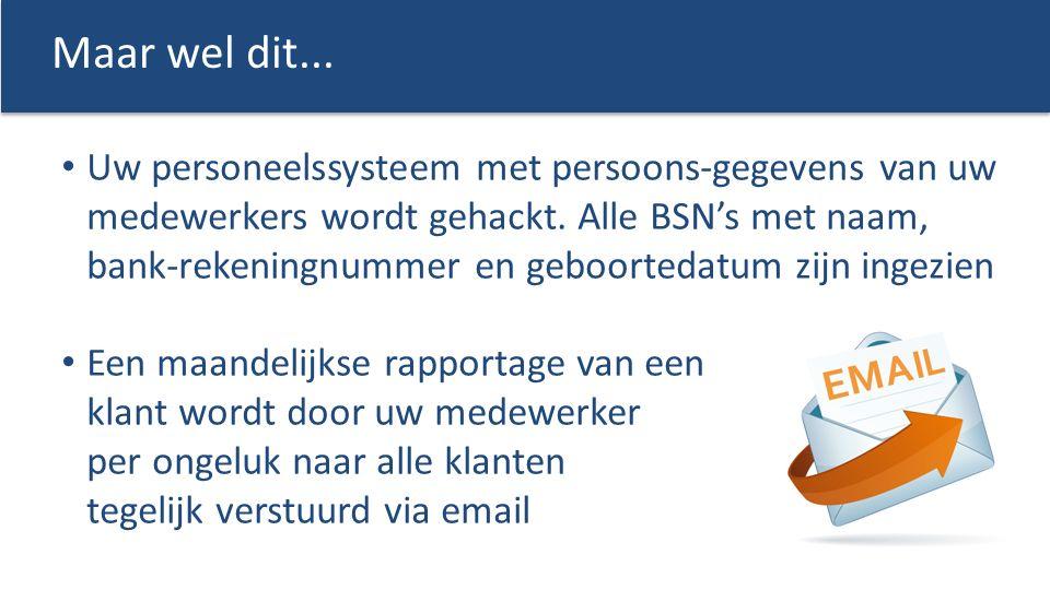 Uw personeelssysteem met persoons-gegevens van uw medewerkers wordt gehackt. Alle BSN's met naam, bank-rekeningnummer en geboortedatum zijn ingezien E