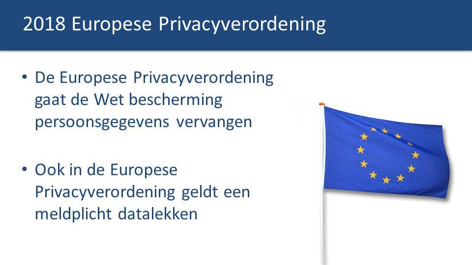 2018 Europese Privacyverordening De Europese Privacyverordening gaat de Wet bescherming persoonsgegevens vervangen Ook in de Europese Privacyverordeni