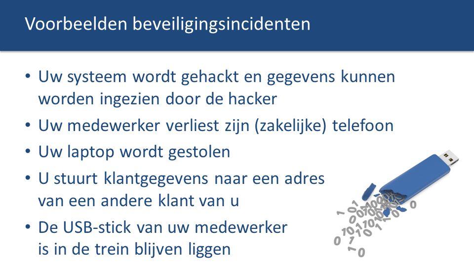 Voorbeelden beveiligingsincidenten Uw systeem wordt gehackt en gegevens kunnen worden ingezien door de hacker Uw medewerker verliest zijn (zakelijke)