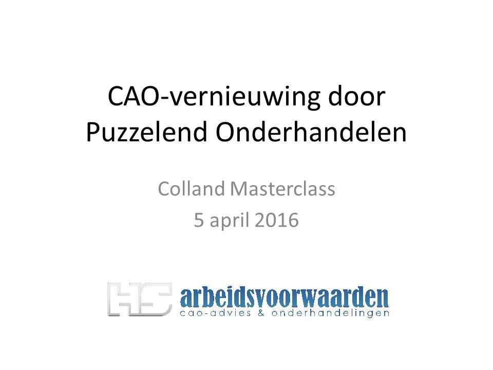 CAO-vernieuwing door Puzzelend Onderhandelen Colland Masterclass 5 april 2016