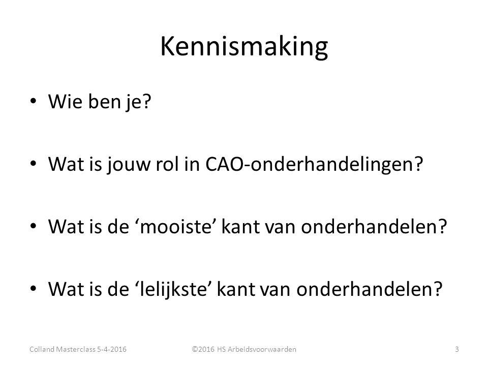 Kennismaking Wie ben je. Wat is jouw rol in CAO-onderhandelingen.