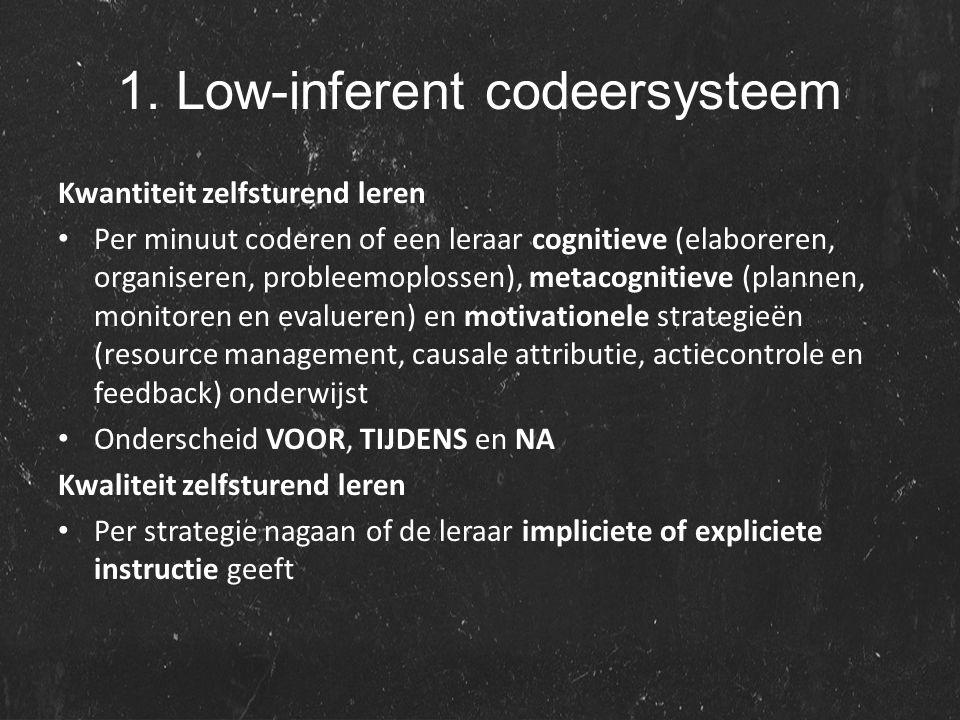 1. Low-inferent codeersysteem Kwantiteit zelfsturend leren Per minuut coderen of een leraar cognitieve (elaboreren, organiseren, probleemoplossen), me