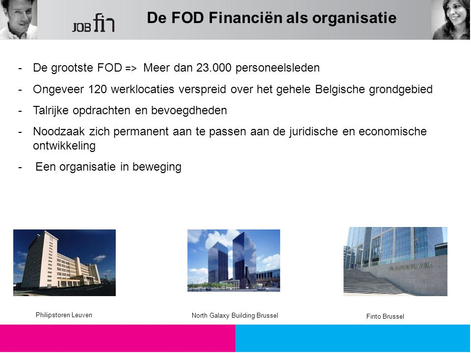 De FOD Financiën als organisatie -De grootste FOD => Meer dan 23.000 personeelsleden -Ongeveer 120 werklocaties verspreid over het gehele Belgische gr