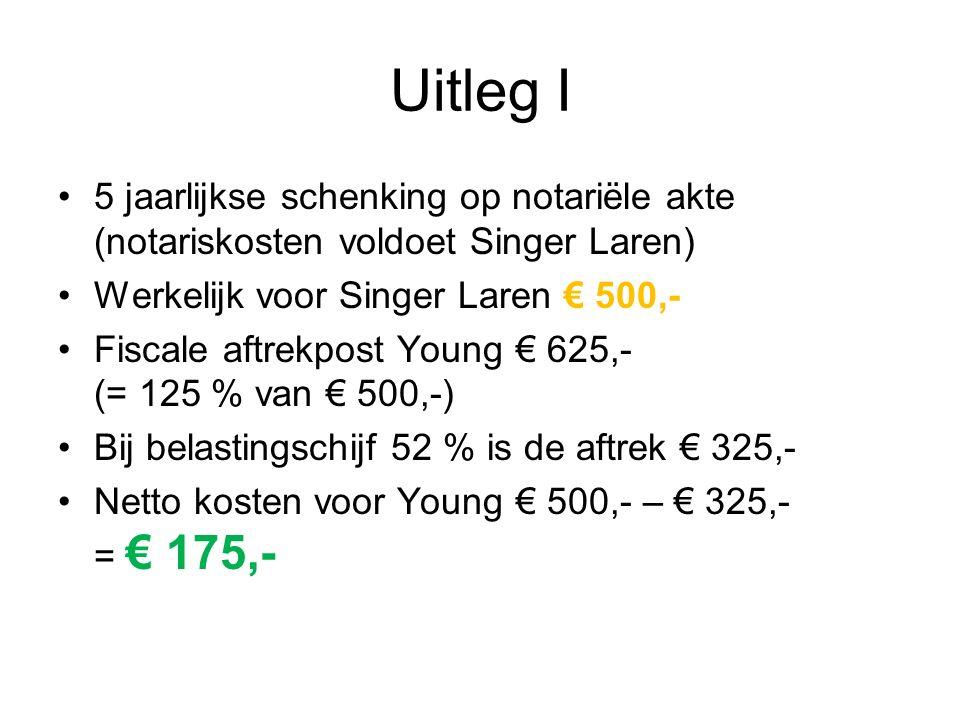 Uitleg I 5 jaarlijkse schenking op notariële akte (notariskosten voldoet Singer Laren) Werkelijk voor Singer Laren € 500,- Fiscale aftrekpost Young €