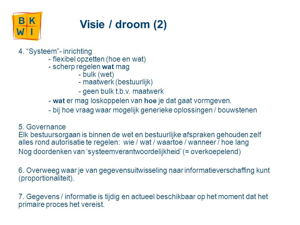 """Visie / droom (2) 4. """"Systeem""""- inrichting - flexibel opzetten (hoe en wat) - scherp regelen wat mag - bulk (wet) - maatwerk (bestuurlijk) - geen bulk"""