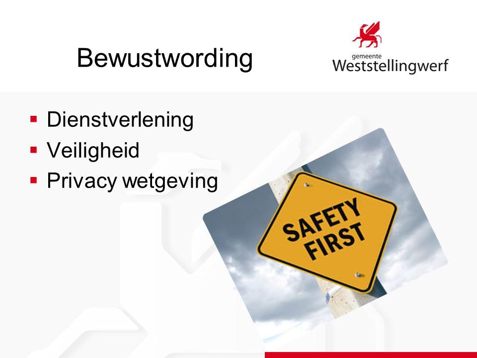 Bewustwording  Dienstverlening  Veiligheid  Privacy wetgeving