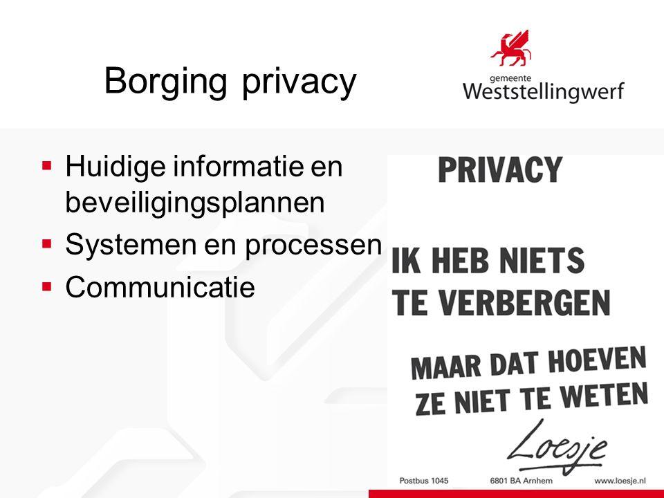 Borging privacy  Huidige informatie en beveiligingsplannen  Systemen en processen  Communicatie