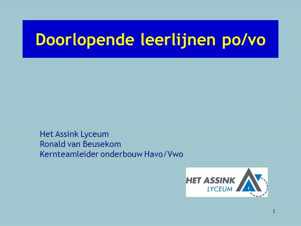 Doorlopende leerlijnen po/vo 1 Het Assink Lyceum Ronald van Beusekom Kernteamleider onderbouw Havo/Vwo