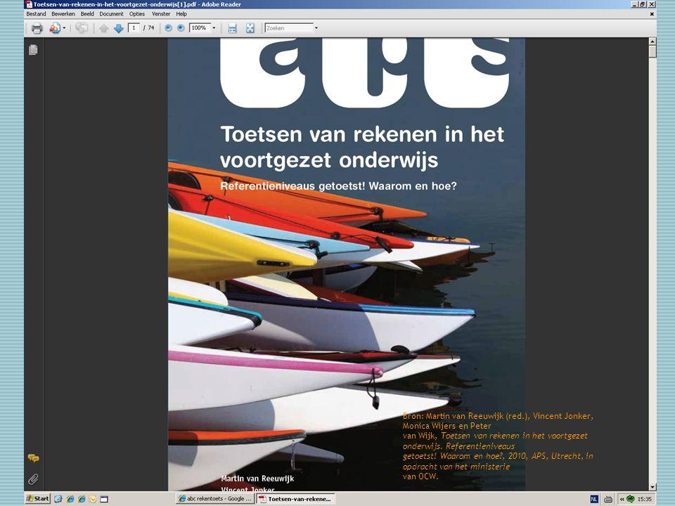 12 Bron: Martin van Reeuwijk (red.), Vincent Jonker, Monica Wijers en Peter van Wijk, Toetsen van rekenen in het voortgezet onderwijs. Referentienivea