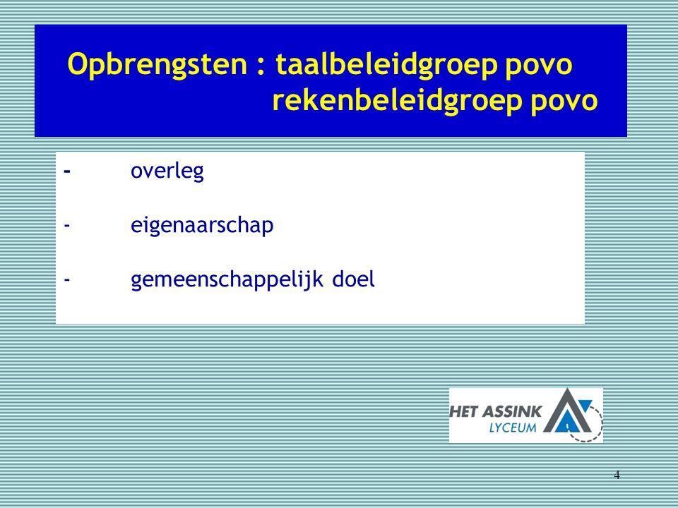 Opbrengsten : taalbeleidgroep povo rekenbeleidgroep povo 4 -overleg -eigenaarschap -gemeenschappelijk doel