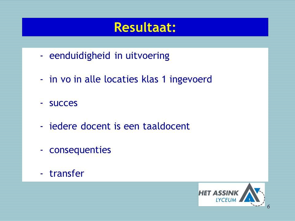 Resultaat: 6 - eenduidigheid in uitvoering - in vo in alle locaties klas 1 ingevoerd - succes - iedere docent is een taaldocent - consequenties - tran