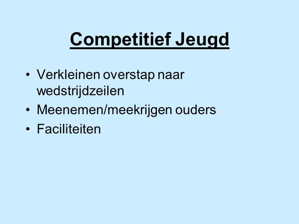 Competitief Jeugd Verkleinen overstap naar wedstrijdzeilen Meenemen/meekrijgen ouders Faciliteiten