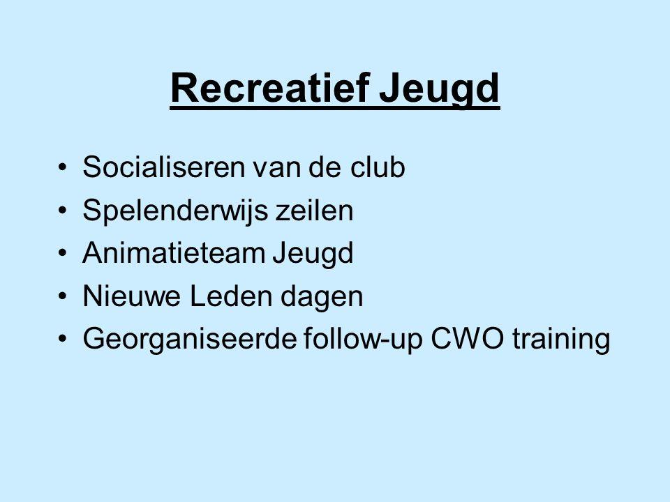 Recreatief Jeugd Socialiseren van de club Spelenderwijs zeilen Animatieteam Jeugd Nieuwe Leden dagen Georganiseerde follow-up CWO training