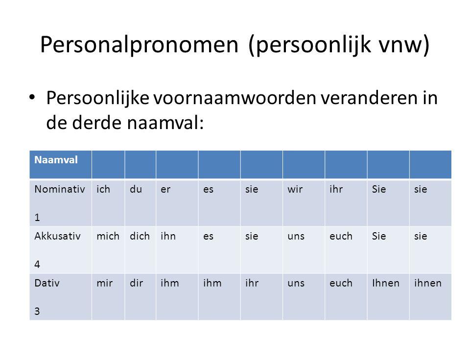 Personalpronomen (persoonlijk vnw) Persoonlijke voornaamwoorden veranderen in de derde naamval: Naamval Nominativ 1 ichdueressiewirihrSiesie Akkusativ