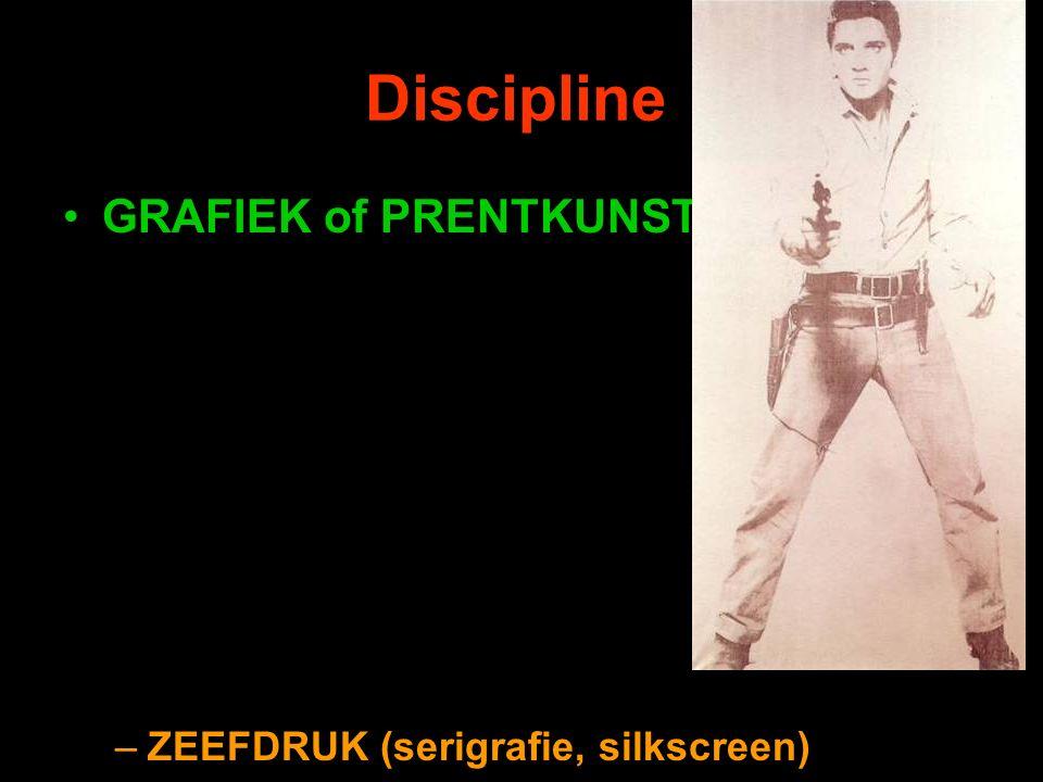 Discipline GRAFIEK of PRENTKUNST –ZEEFDRUK (serigrafie, silkscreen)