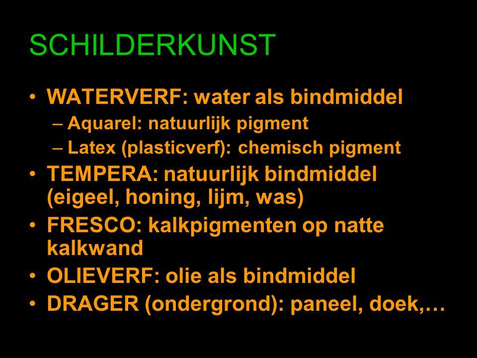 WATERVERF: water als bindmiddel –Aquarel: natuurlijk pigment –Latex (plasticverf): chemisch pigment TEMPERA: natuurlijk bindmiddel (eigeel, honing, lijm, was) FRESCO: kalkpigmenten op natte kalkwand OLIEVERF: olie als bindmiddel DRAGER (ondergrond): paneel, doek,…