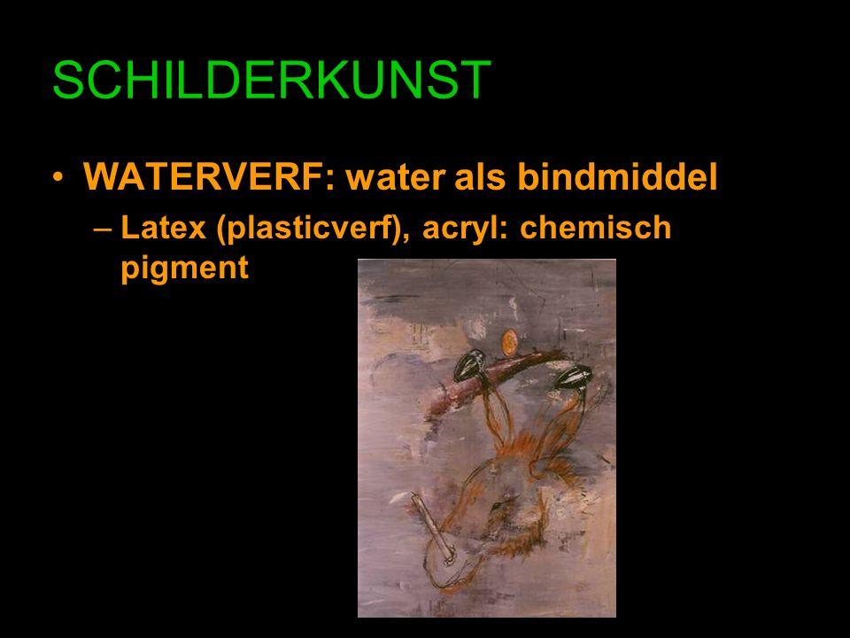 SCHILDERKUNST WATERVERF: water als bindmiddel –Latex (plasticverf), acryl: chemisch pigment
