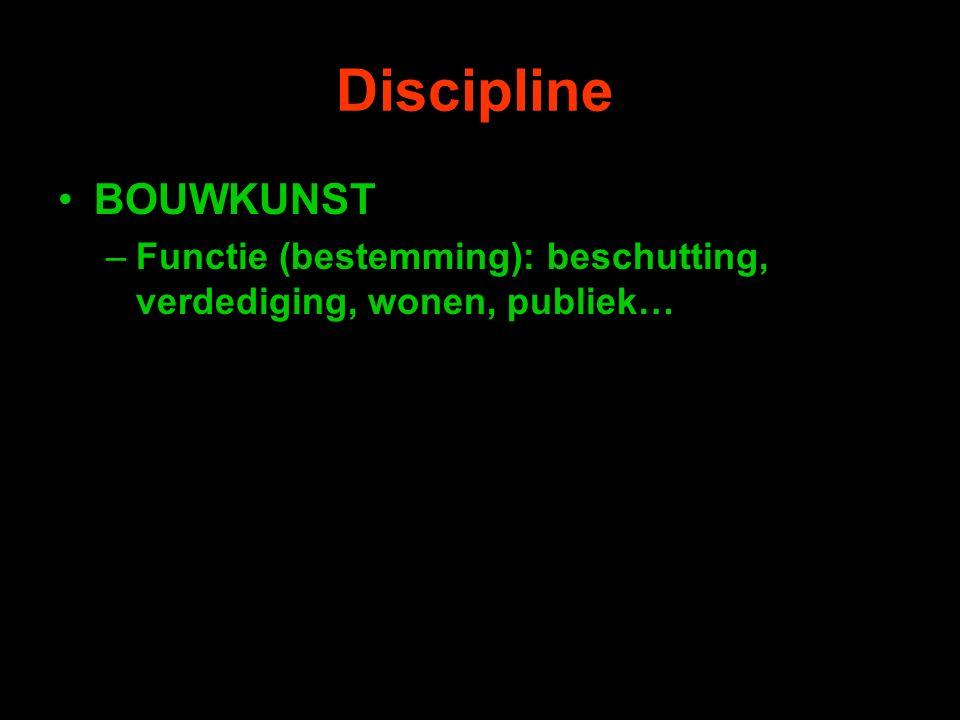 Discipline BOUWKUNST –Functie (bestemming): beschutting, verdediging, wonen, publiek…