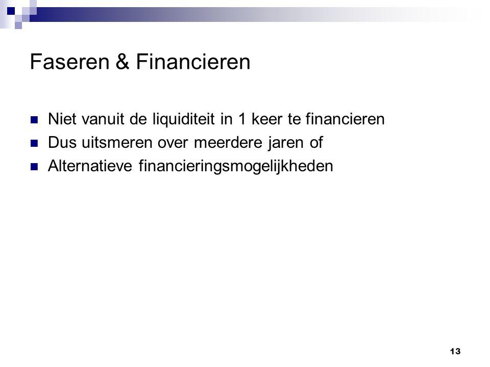 Faseren & Financieren Niet vanuit de liquiditeit in 1 keer te financieren Dus uitsmeren over meerdere jaren of Alternatieve financieringsmogelijkheden 13