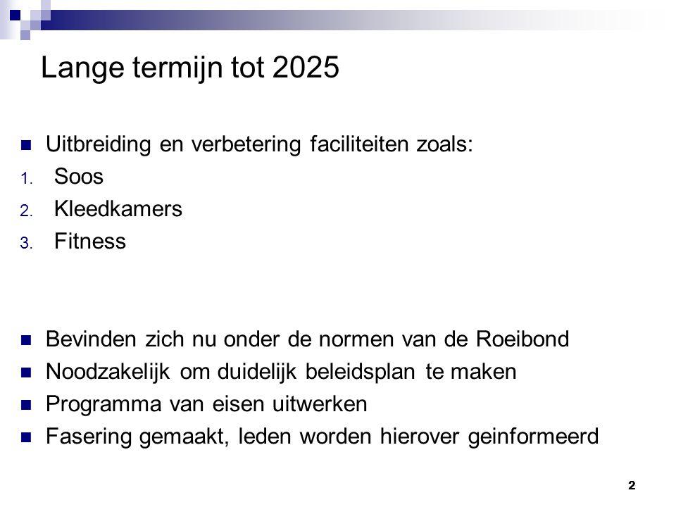 Korte termijn: 2015 - 2017 Extra opslag van boten Betrekken terrein rondom Huisje bij soos gebeuren Vervangen beschoeiing en steiger Creëren toegang soos voor mindervaliden 3
