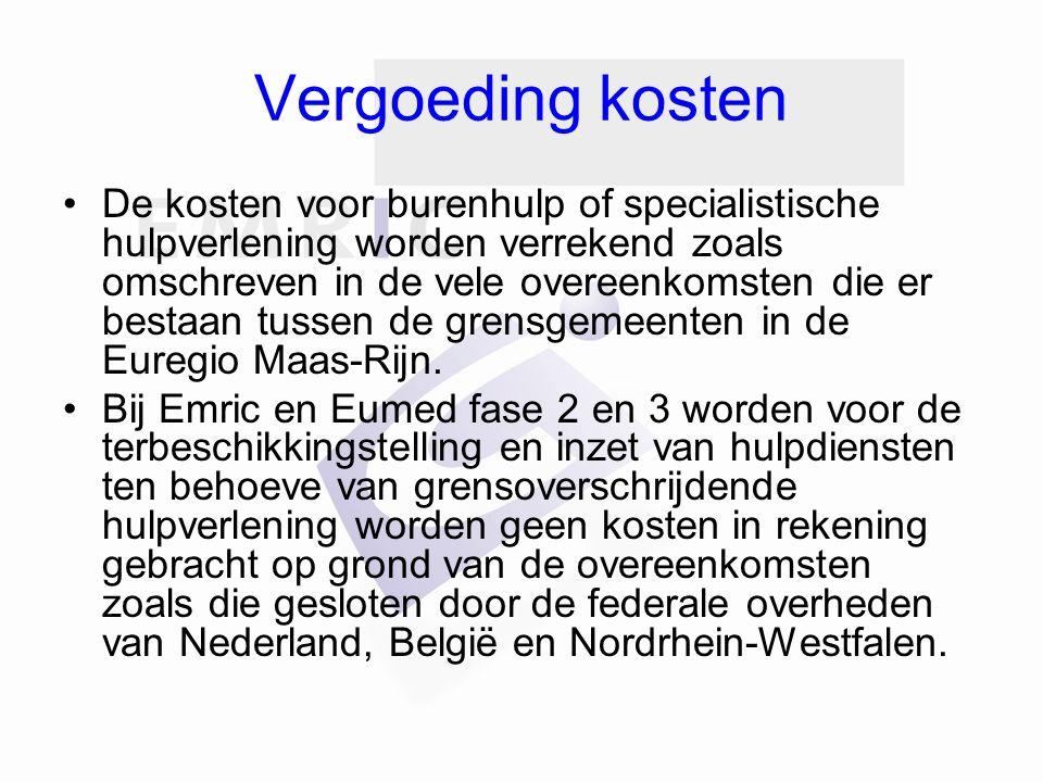 Vergoeding kosten De kosten voor burenhulp of specialistische hulpverlening worden verrekend zoals omschreven in de vele overeenkomsten die er bestaan tussen de grensgemeenten in de Euregio Maas-Rijn.
