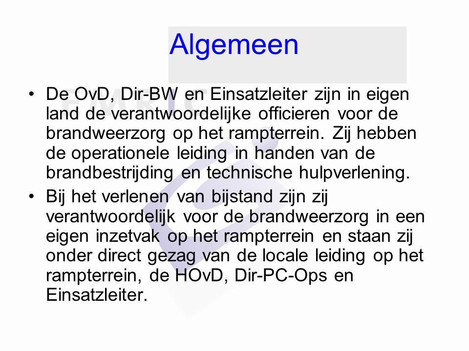Algemeen De OvD, Dir-BW en Einsatzleiter zijn in eigen land de verantwoordelijke officieren voor de brandweerzorg op het rampterrein.