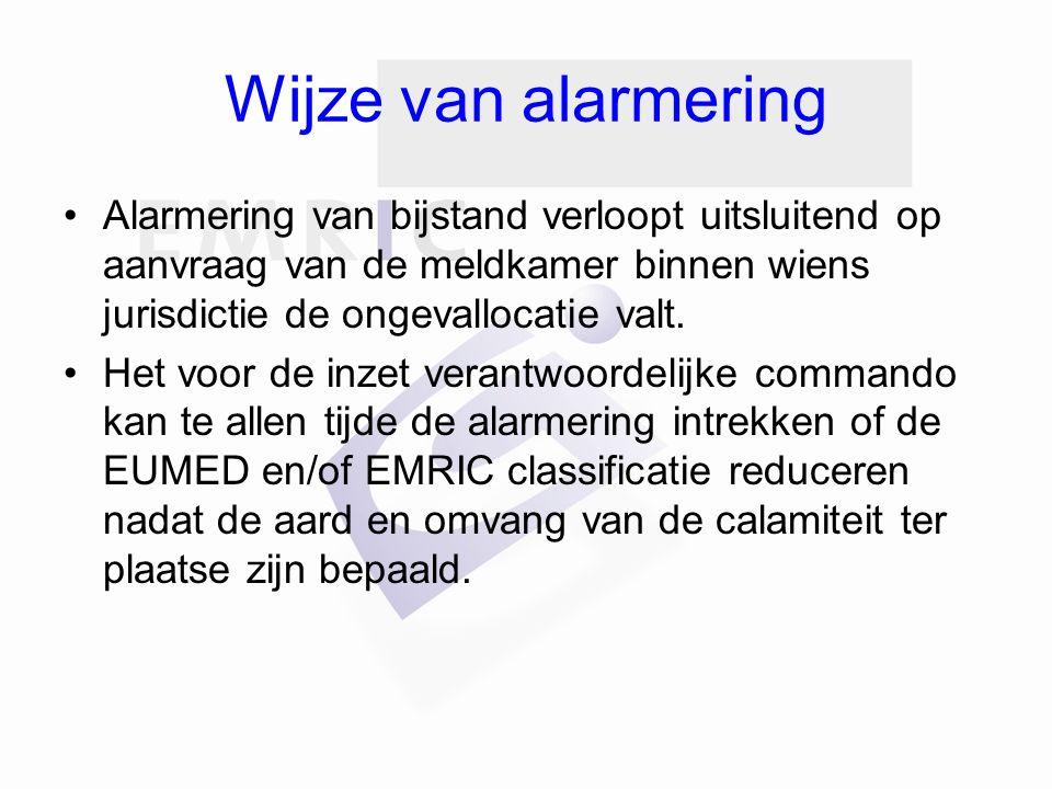 Wijze van alarmering Alarmering van bijstand verloopt uitsluitend op aanvraag van de meldkamer binnen wiens jurisdictie de ongevallocatie valt.