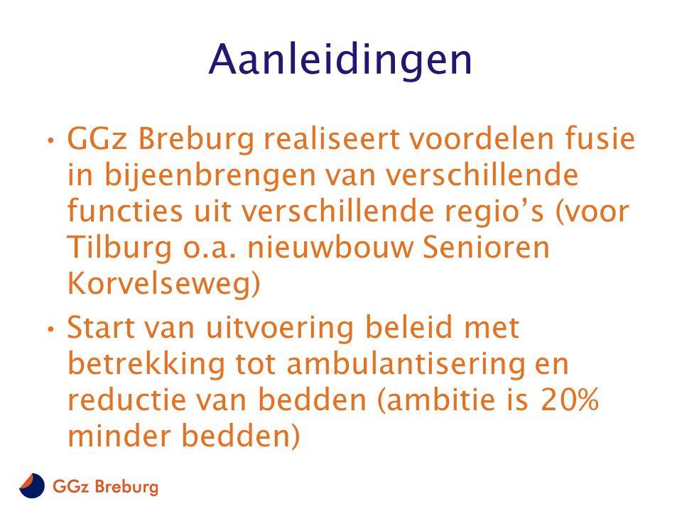 Aanleidingen GGz Breburg realiseert voordelen fusie in bijeenbrengen van verschillende functies uit verschillende regio's (voor Tilburg o.a. nieuwbouw