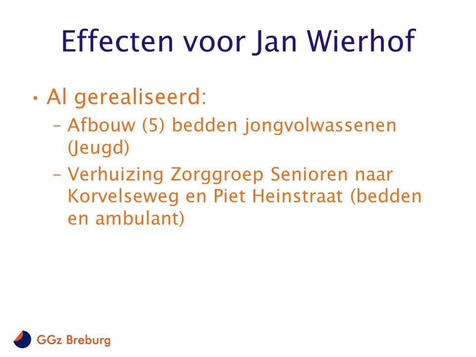 Effecten voor Jan Wierhof Al gerealiseerd: –Afbouw (5) bedden jongvolwassenen (Jeugd) –Verhuizing Zorggroep Senioren naar Korvelseweg en Piet Heinstra