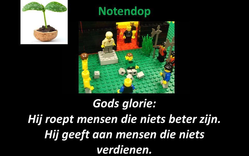 Notendop Gods glorie: Hij roept mensen die niets beter zijn.