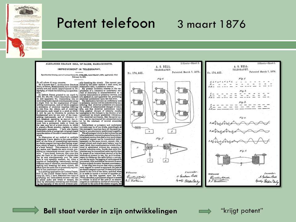 14 februari 1876 patentaanvraag telefoon Patent = document dat uitvinder krijgt zodat hij Elisha Gray Thomas Edison alleen zijn uitvinding mag bouwen of verkopen… Op dezelfde dag Deden ook een aanvraag voor soortgelijk idee