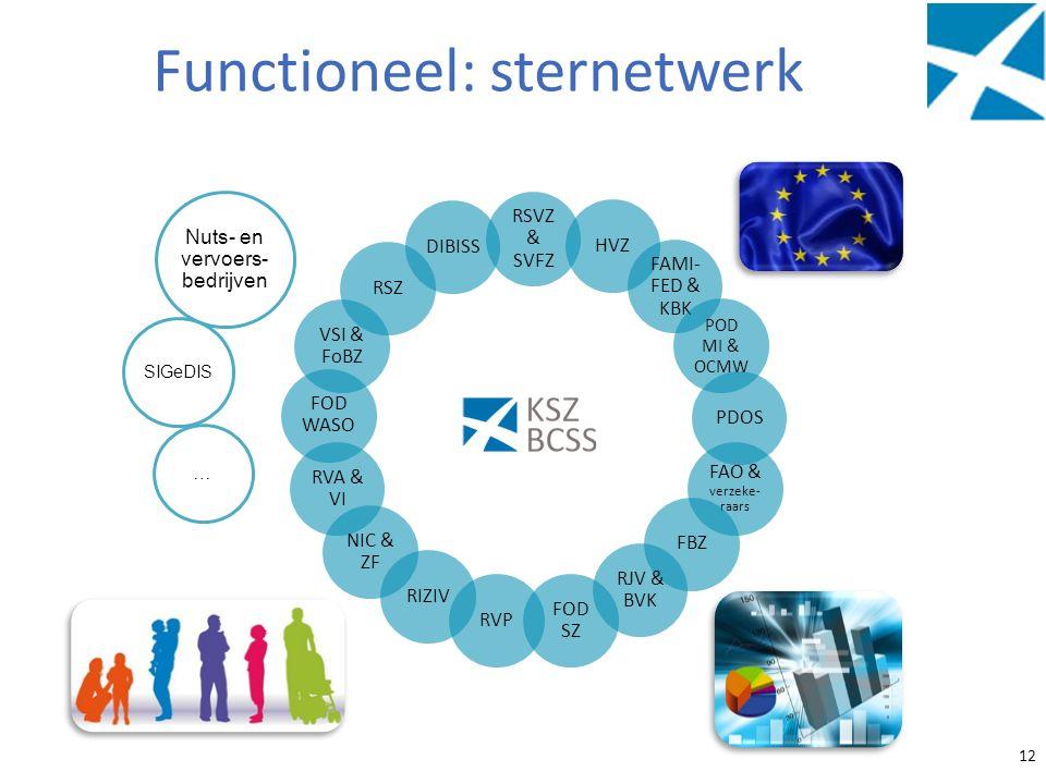 Functioneel: sternetwerk 12 RSVZ & SVFZ HVZ FAMI- FED & KBK POD MI & OCMW PDOS FAO & verzeke- raars FBZ RJV & BVK FOD SZ RVP RIZIV NIC & ZF RVA & VI F