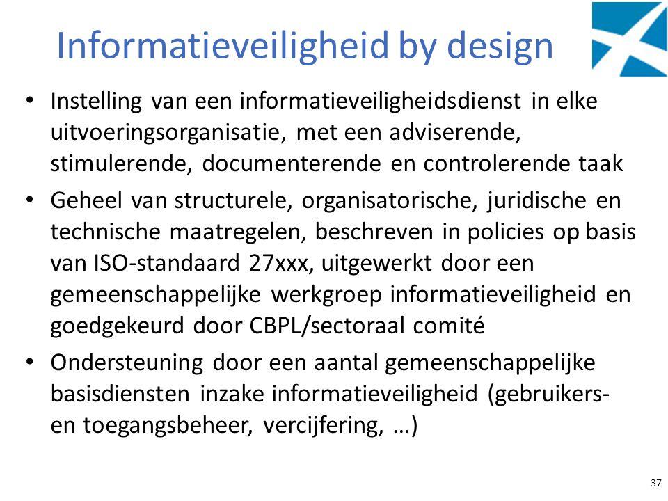 Informatieveiligheid by design Instelling van een informatieveiligheidsdienst in elke uitvoeringsorganisatie, met een adviserende, stimulerende, docum